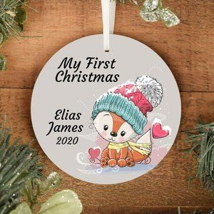 Personalized Baby's First Christmas Ornament Fox